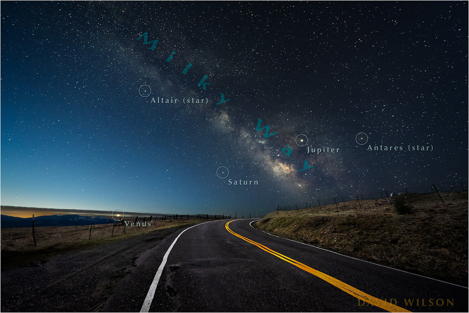 Annotated version showing three neighboring planets and a couple notable stars. The Core of our galaxy is the more detailed area of the Milky Way low on the horizon. [Note: This map can lead the aliens directly to us, so be responsible.]