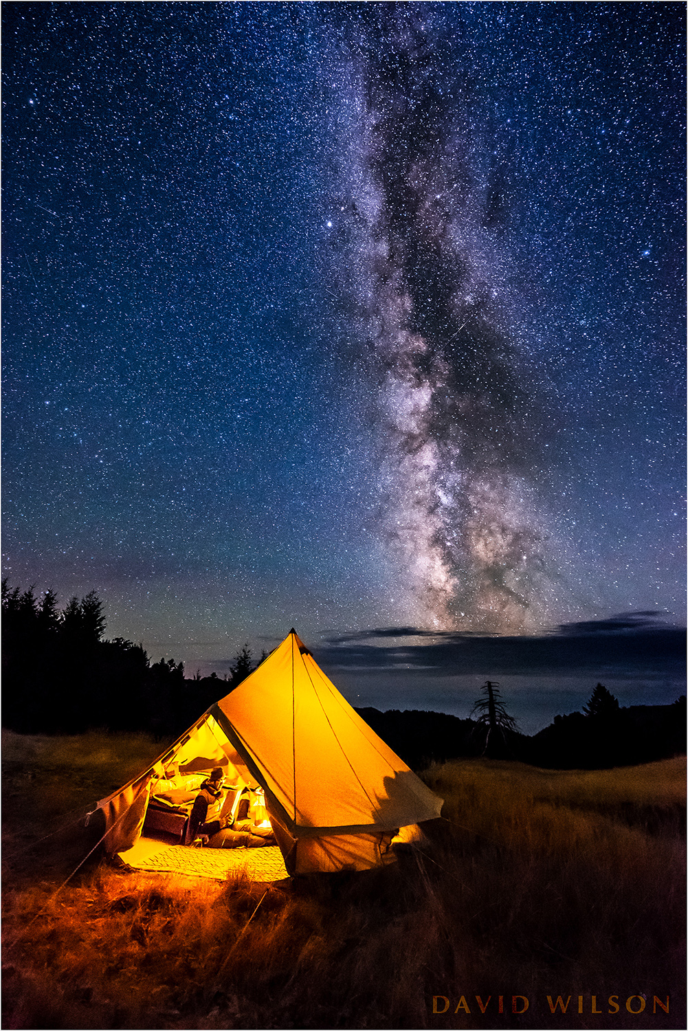 Camping beneath the Milky Way on Paradise Ridge, Lost Coast, Humboldt County, California.