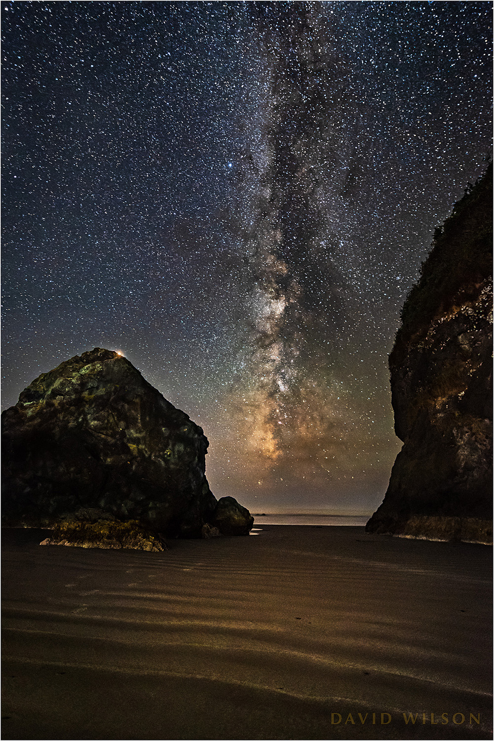The Milky Way rises from the Pacific at Houda Point, near Camel Rock, Humboldt County, California. Mars sits at the top edge of the rock on the left. September 13, 2018.