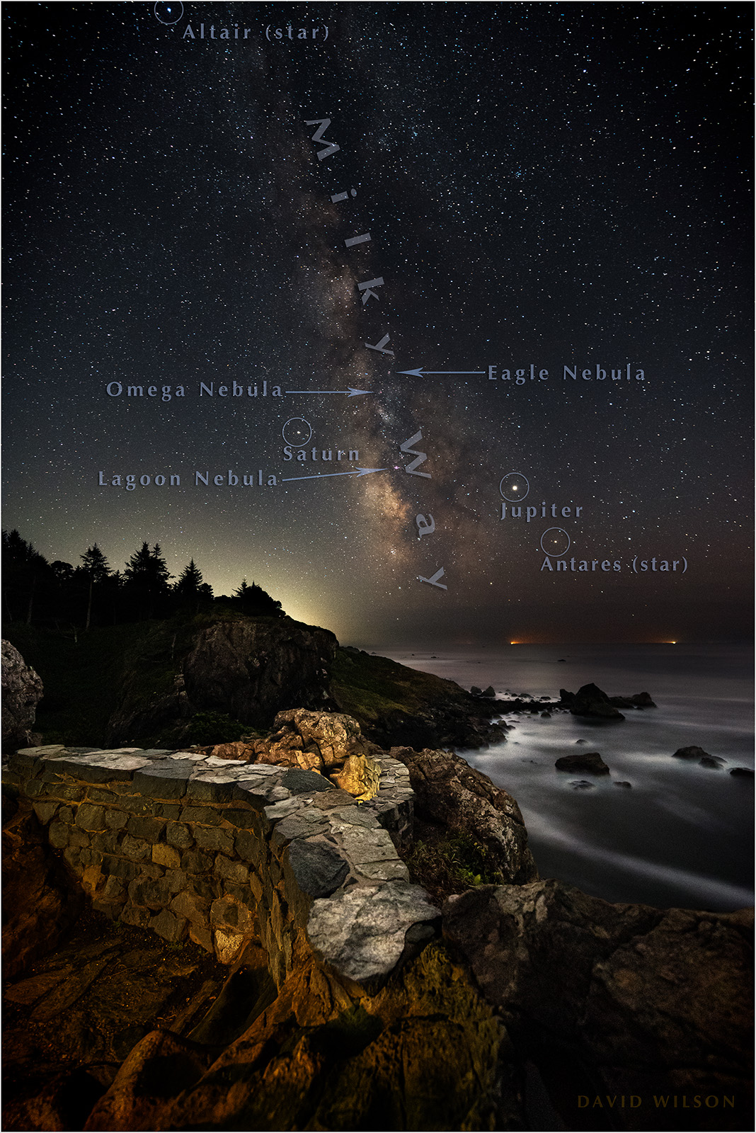 Too numerous to label, stars, nebulae and planets abound in this image with some of the notable objects annotated. Not labeled is the Dark Horse Nebula; its foot is standing on Jupiter, can you spot it? Pacific Ocean, Humboldt County, California. September, 2019.