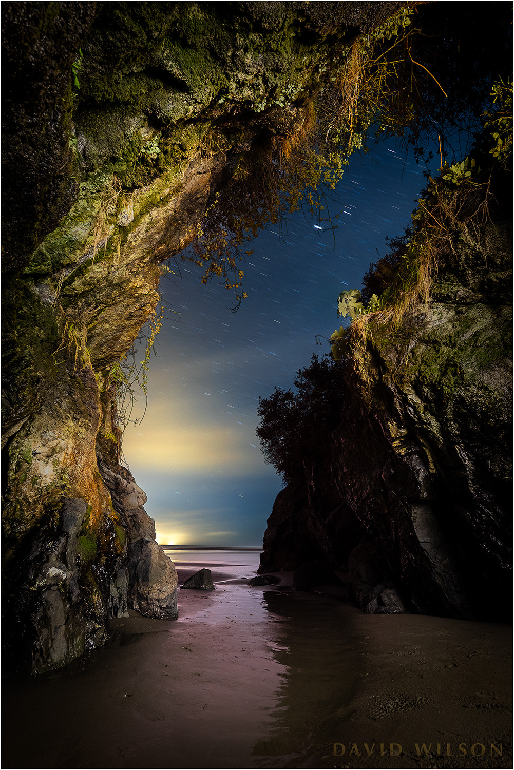 Mysteries of the night reveal themselves in the darkness like the secret caves of the mind -- if one knows where to look, how to see… This is a single exposure of an actual beach cave on the rugged coast of Humboldt County, California. April 9, 2019.