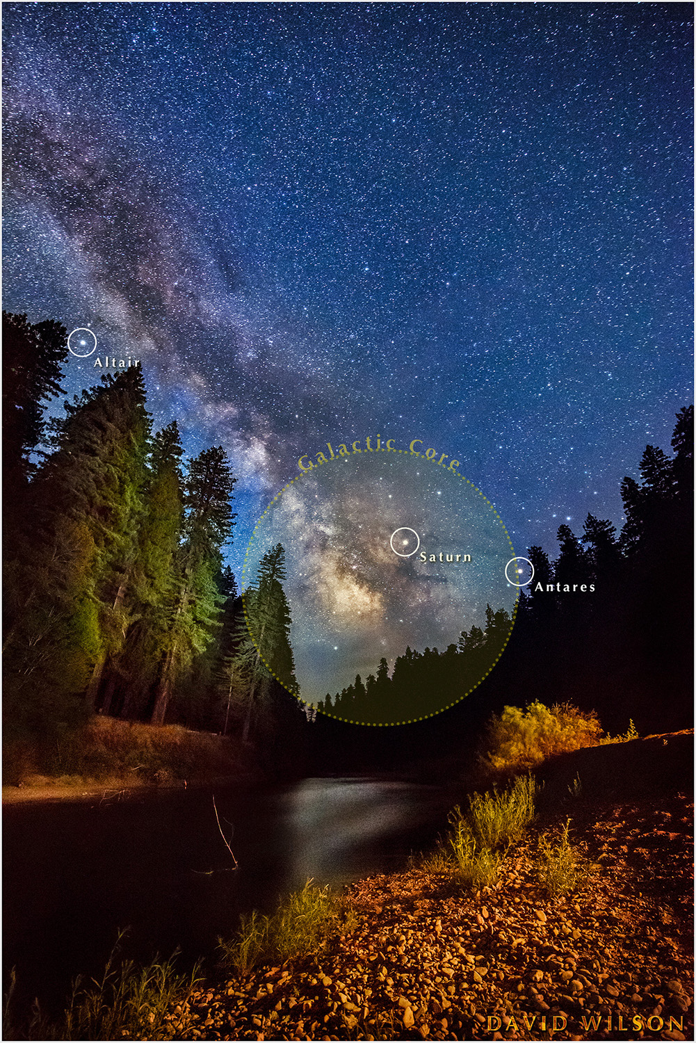 Nighttime scene with Milky Way, as seen from the banks of the Eel River at the California Federation of Women's Clubs Grove in Humboldt Redwoods State Park, California. June 2017. Photo by David Wilson.