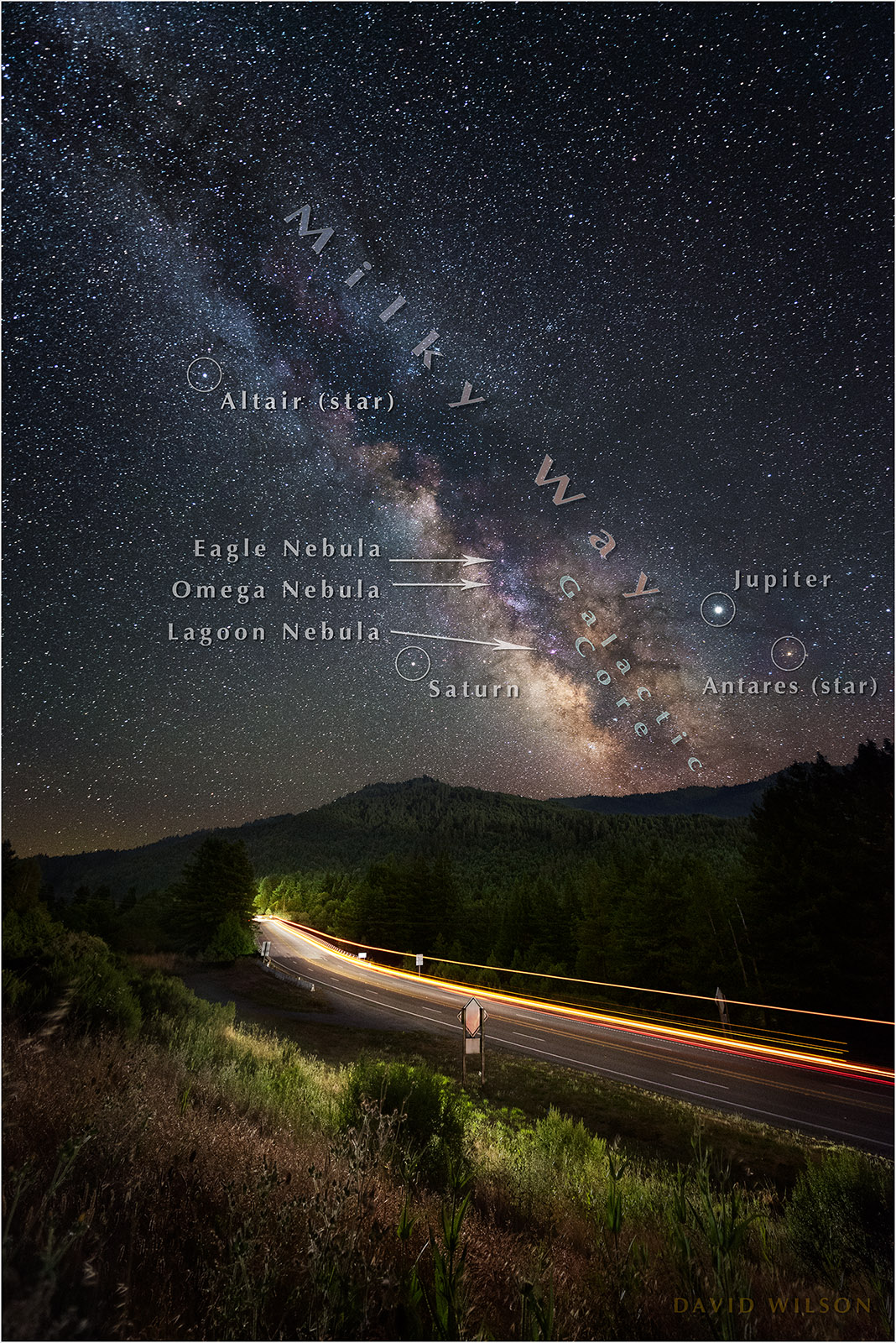 US 101 from Shively Road with Annotated night sky.