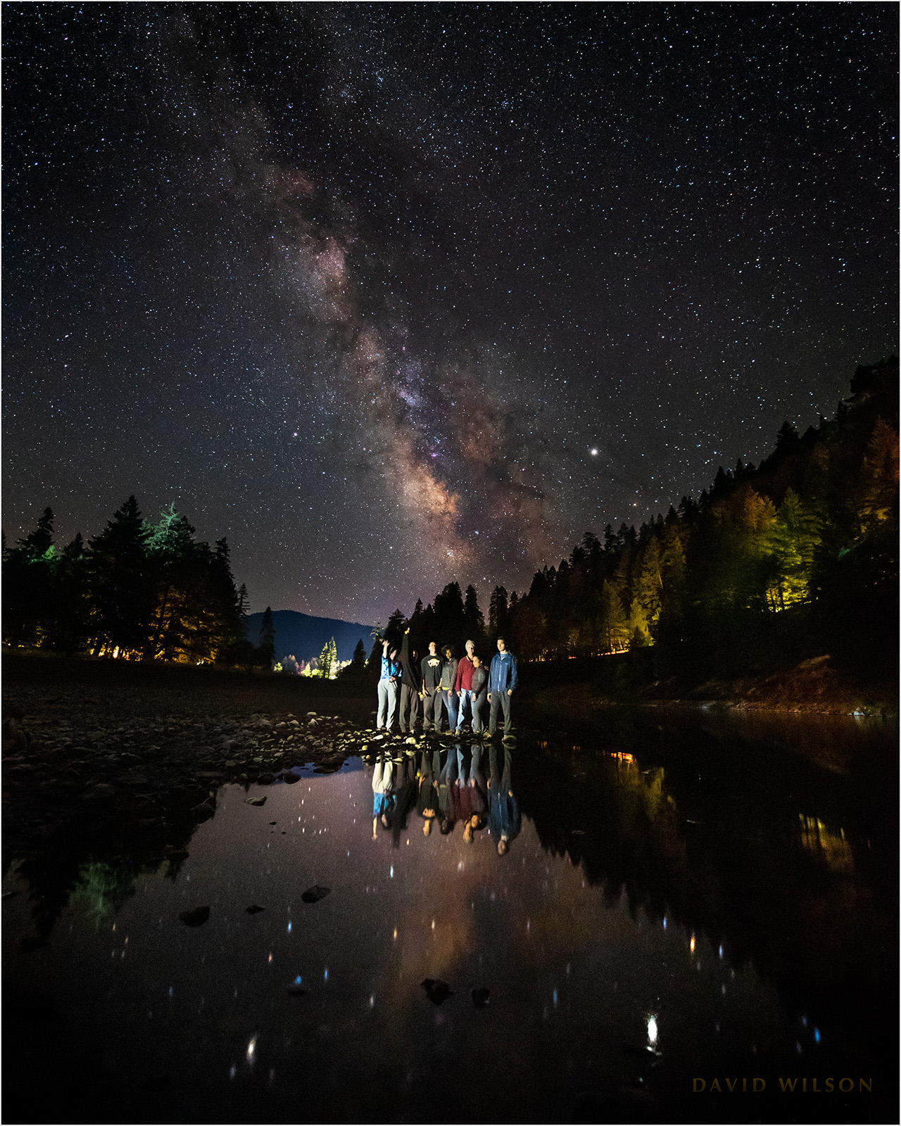 A summer night on the bank of the South Fork Eel River. Right to left: Jerren Wilson, Juanita WIlson, Gianna Wilson, Seth Wilson, Cheyenne Wilson, Iona (friend of Cheyenne). August 2019.