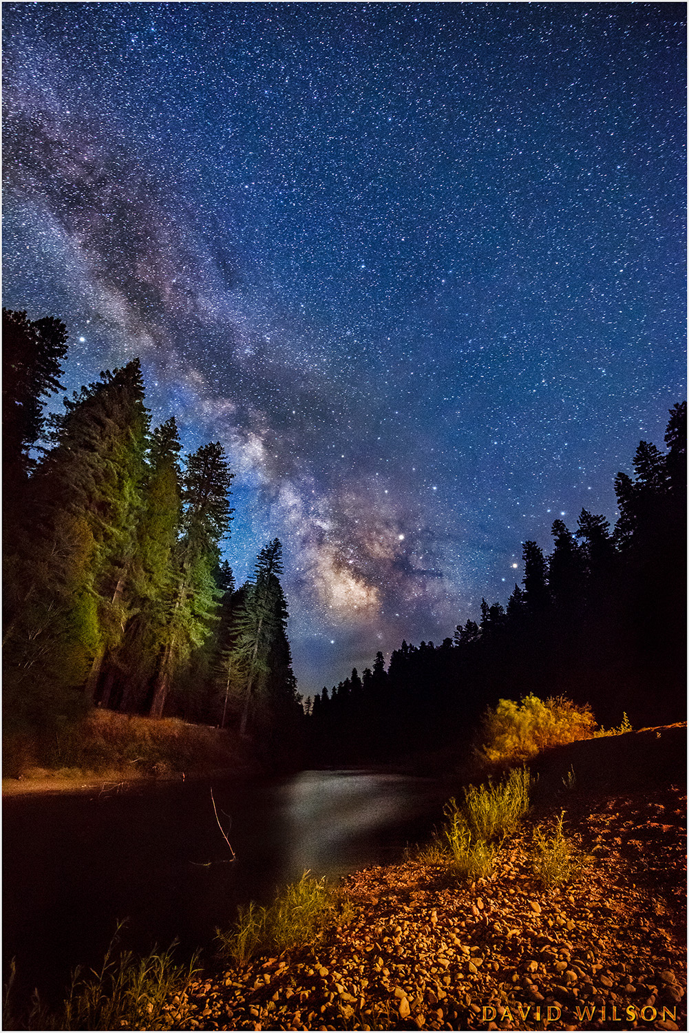Milky Way over South Fork Eel River, Humboldt County, California.