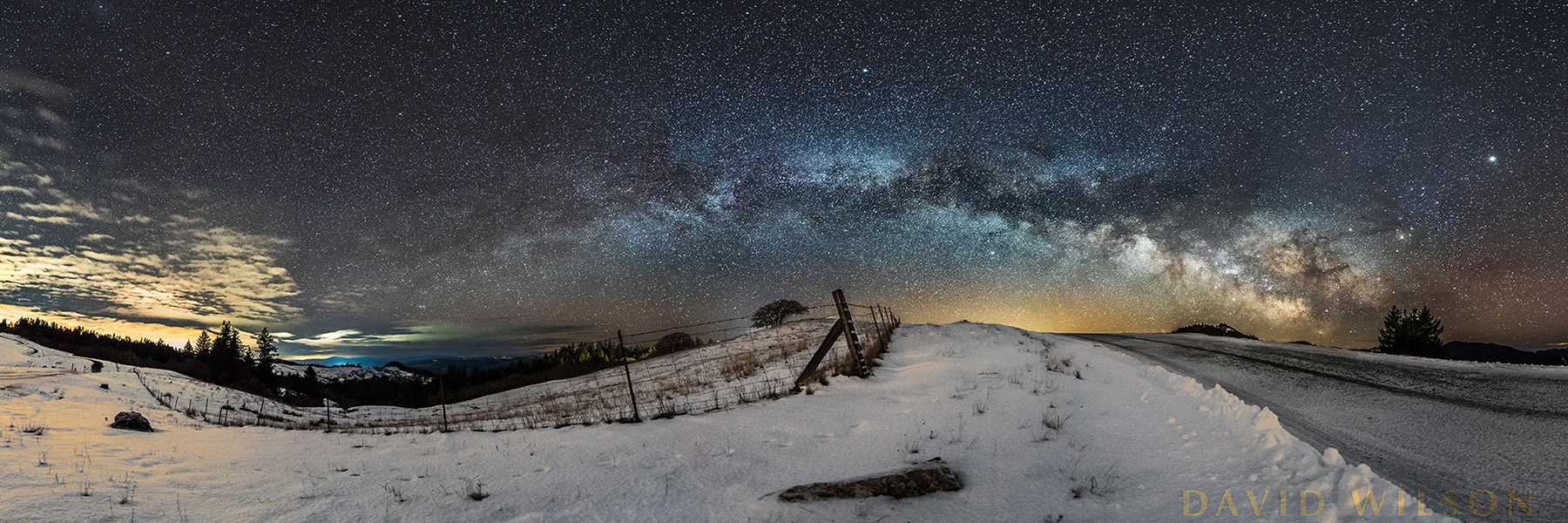 Snowy Panorama beneath Milky Way