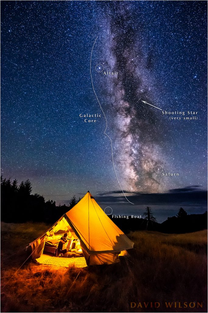 With stars annotated, camping beneath the Milky Way on Paradise Ridge, Lost Coast, Humboldt County, California.