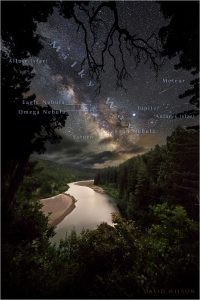 Celestial objects annotated in a night sky over the Eel River, Humboldt County, CA