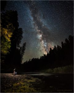 A photographer on the South Fork Eel River bank beneath the night sky.