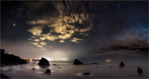 Night view looking south over Humboldt County coastline.