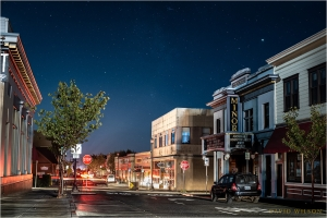 Arcata, California lit by the moon and passing cars