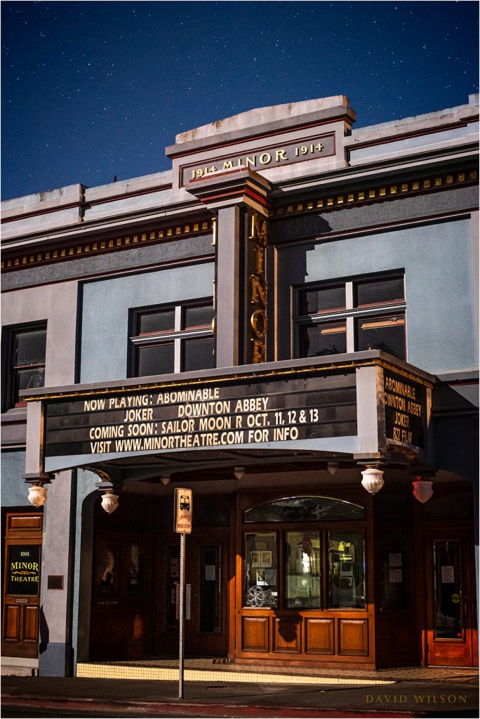 Historic Arcata Minor Theater bathed in Moonlight