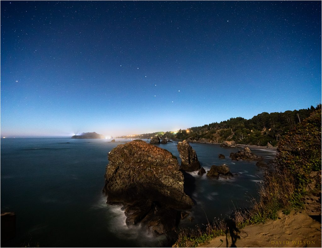Trinidad, Humboldt County, California in the moonlight.