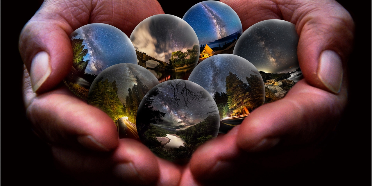 A double handful of spheres of nighttime scenes.