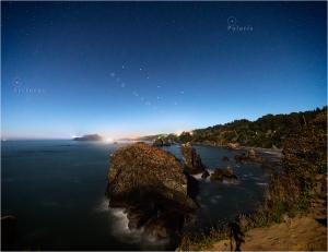 Trinidad, California glows beneath a starry sky.