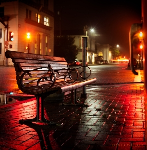 4th & E Street, Eureka - a nighttime empty bench