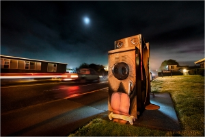 Traffic light utility box painted as Harry the Honorable Hound Dog