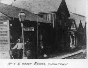 Old 1800's era photo of Eureka, California's 4th & E Street corner