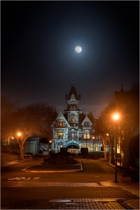 Full Moon over Carson Mansion, Eureka, California. February, 8 2020.