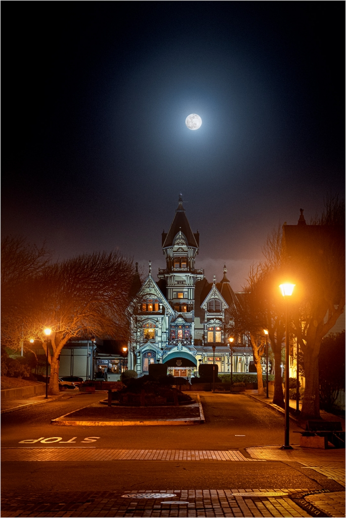 Eureka, California's Carson Mansion beneath the full moon of February, 2020.