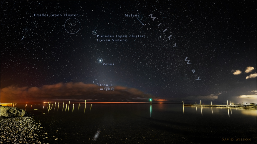 Nighttime view of Humboldt Bay from Fields Landing with annotated night sky.