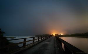 Cock Robin Island Bridge on a Foggy Night