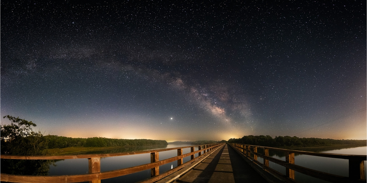 Cock Robin Island Bridge, looking south, with starry sky