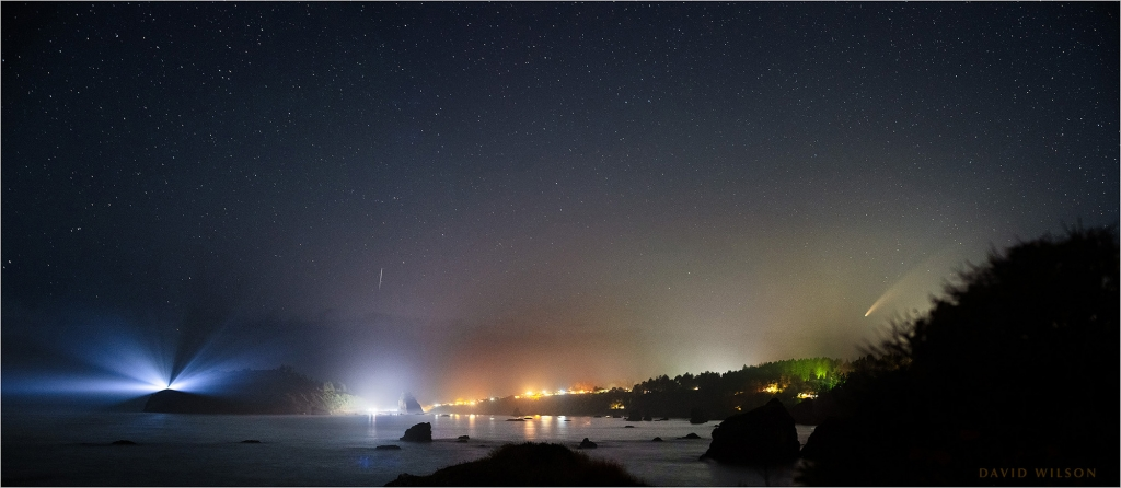Panorama on the northern California Pacific coast with Comet NEOWISE above the town of Trinidad.