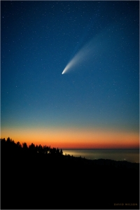 Comet NEOWISE above the sunset glow over Ferndale, California
