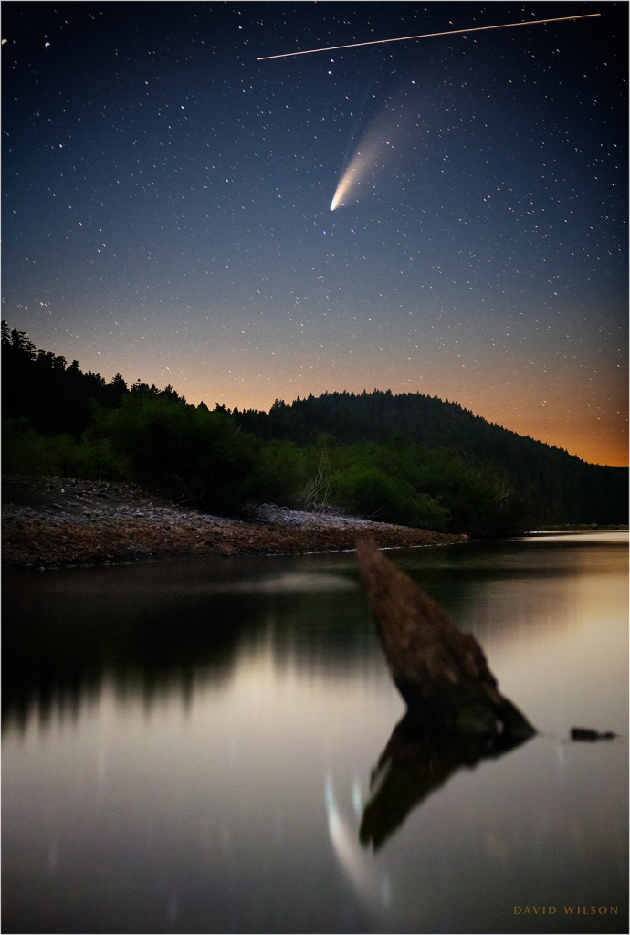 International Space Station passing Comet NEOWISE above the Eel River, California
