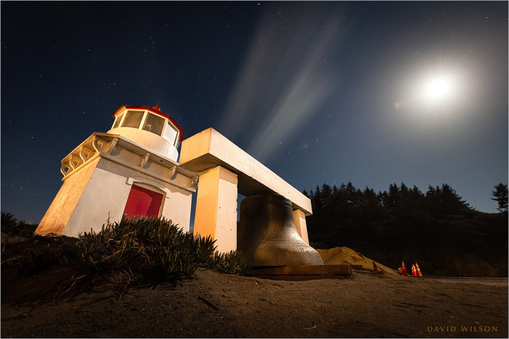 Trinidad Lighthouse under a waxing Moon