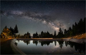 Milky Way over large catchment pond