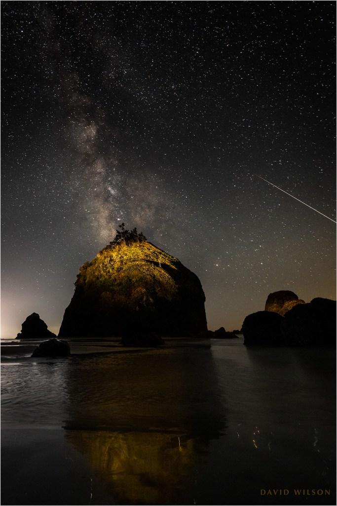 Nighttime coastal scene with Milky Way - A large meteor slips off the edge of the frame.